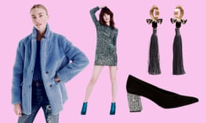 Going out-out-out in (clockwise from left): The Teddy coat in plush fleece, £275, J Crew; Parisian green iridescent sequin dress, £34.99, New Look; micro bead tassel earrings, £12.99, Mango; rhinestone suede pump, £89, & Other Stories