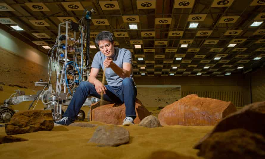 British doctor Kevin Fong in the Mars Yard at Airbus Defense and Space.
