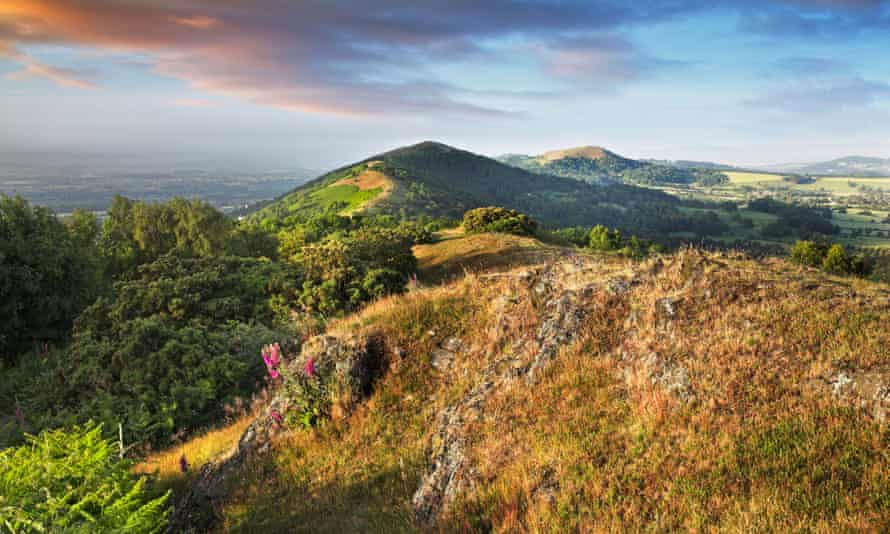 View of countryside looking south along the Malvern Hills from the lower slopes of Worcester Beacon towards Herefordshire Beacon.