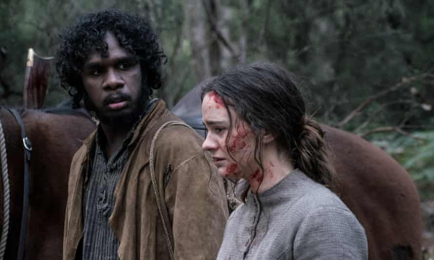 Baykali Ganambarr as Billy and Aisling Franciosi as Clare in Jennifer Kent's 2019 film the Nightingale.
