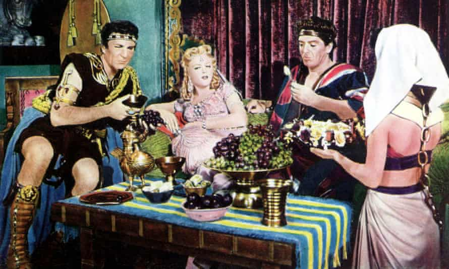 Henry Wilcoxon, Angela Lansbury and Victor Mature in Samson and Delilah.