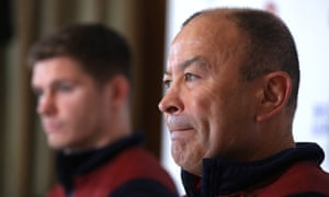 England's Eddie Jones at his pre-match press conference with Owen Farrell.