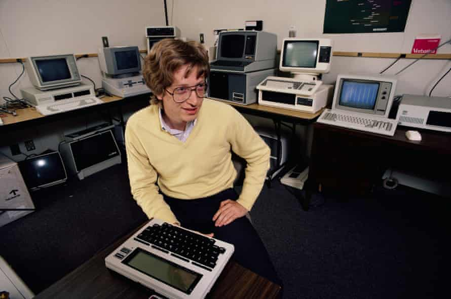 Bill Gates in 1983 in a room full of computers.