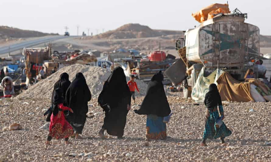 Refugees in a camp in Ain Issa, Syria