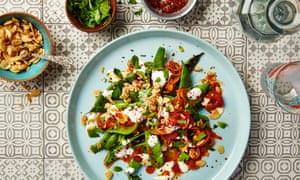 Thomasina Miers' grilled flat beans with spiced tomato sauce, garlic yoghurt and sweet and salty almonds