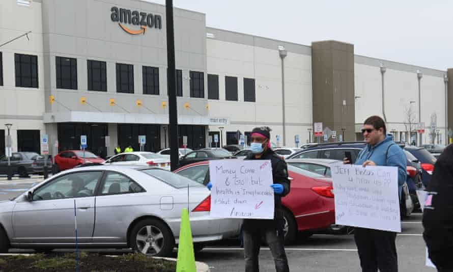 Amazon workers stage a walkout at the company's Staten Island warehouse.