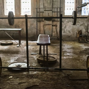 A bench-press lies in the gym of the akhada.