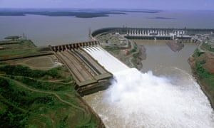Aerial view of the Itaipú hydroelectric dam that Paraguay shares with Brazil.