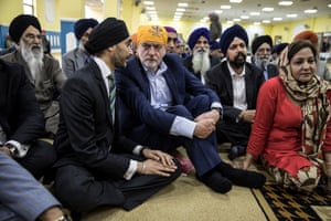 Jeremy Corbyn visits Gurdwara Sri Guru Singh Sabha, a Sikh temple in Southall, on Thursday