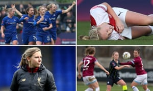 (clockwise from top left) Erin Cuthbert of Chelsea celebrates a goal; Beth Mead of Arsenal lies injured; Manchester City's Keira Walsh in action with West Ham's Jane Ross; Liverpool women's coach Vicky Jepson