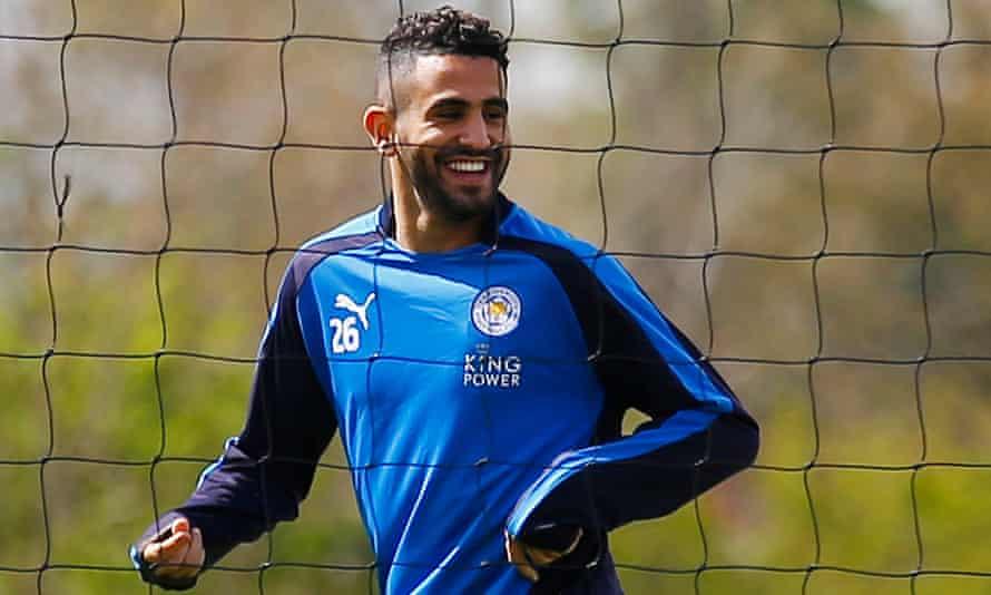 Leicester's Riyad Mahrez during training.