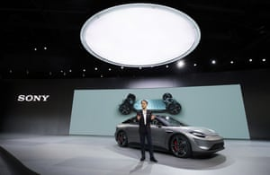 Sony President and CEO Kenichiro Yoshida unveiling the Sony Vision-S electric concept car.