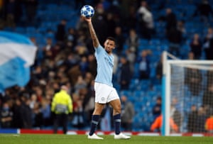 Jesus celebrates with a bomb after hat-trick has won, helping City win 6-0.