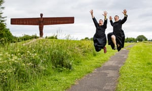 Simon Grundy and Danny Driver alongside the more grounded Angel of the North.