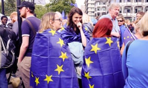 Demonstrators outside parliament protesting against Brexit.