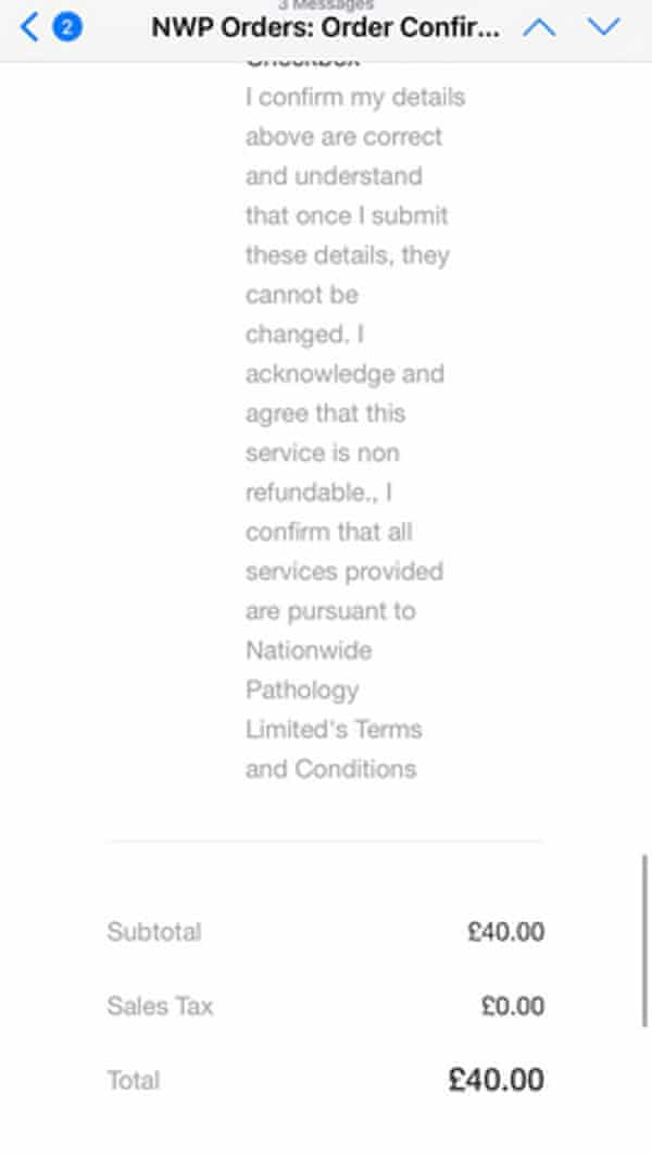 Screenshot of Nationwide Pathology test receipt