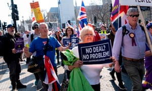 Pro-Brexit demonstrators in London on 29 March.