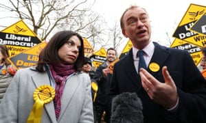 Richmond Park's newly-elected Liberal Democrat MP Sarah Olney and Tim Farron.