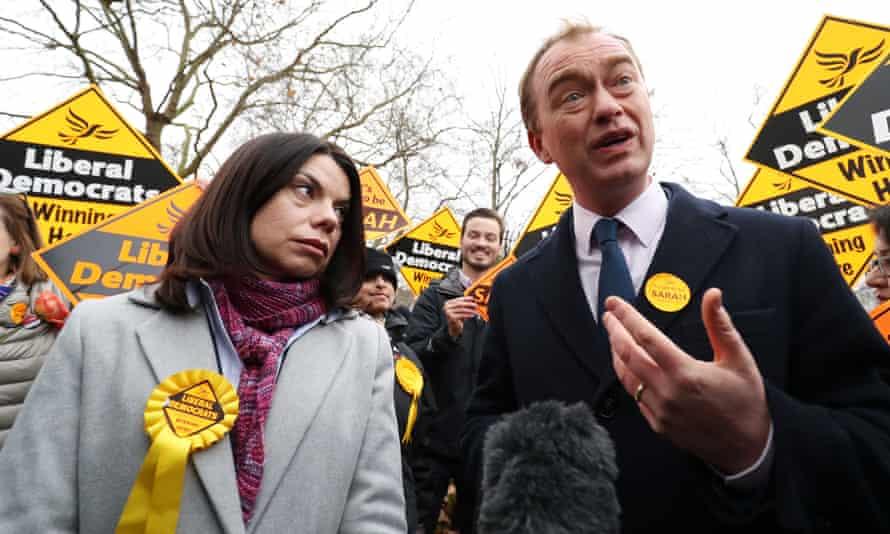 Richmond Park's newly-elected Liberal Democrat MP Sarah Olney and Tim Farron.