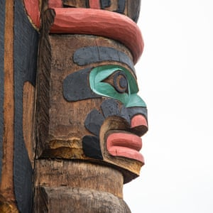 """Totem pole in the city of Duncan, British Columbia, known as the """"city of totems"""" for its dozens of totem poles along city streets in the downtown area"""