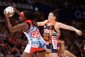 Sam Wallace of the Swifts wins the ball over Sam Poolman of the Giants during the round 8 Super Netball match between the Swifts and the Giants at Qudos Bank Arena.