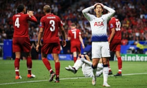 Son Heung-Min of Tottenham Hotspur reacts after missing a chance.
