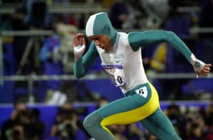 Cathy Freeman in action during the women's 400m final, in which she won gold.