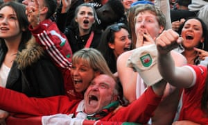 Welsh supporters express delirium as their team scores against Belgium