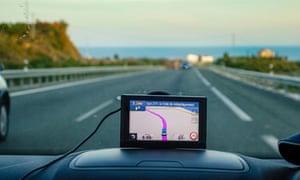 UK car with satnav on dashboard Costa del Sol Spain