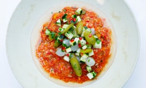Crunchy and piquant: gazpacho with cornichon and pickle juices recipes.