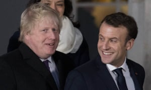 Boris Johnson and Emmanuel Macron at Sandhurst on Thursday.