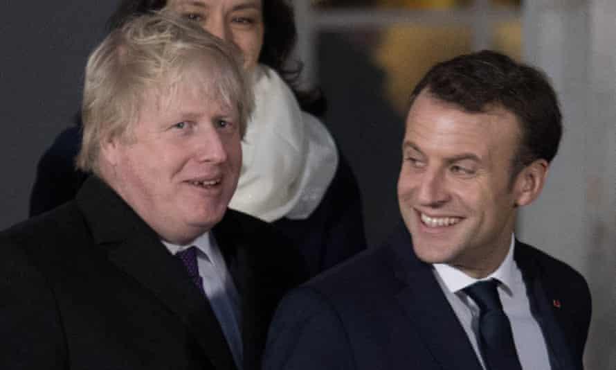 Boris Johnson and Emmanuel Macron at Sandhurst on Thursday.