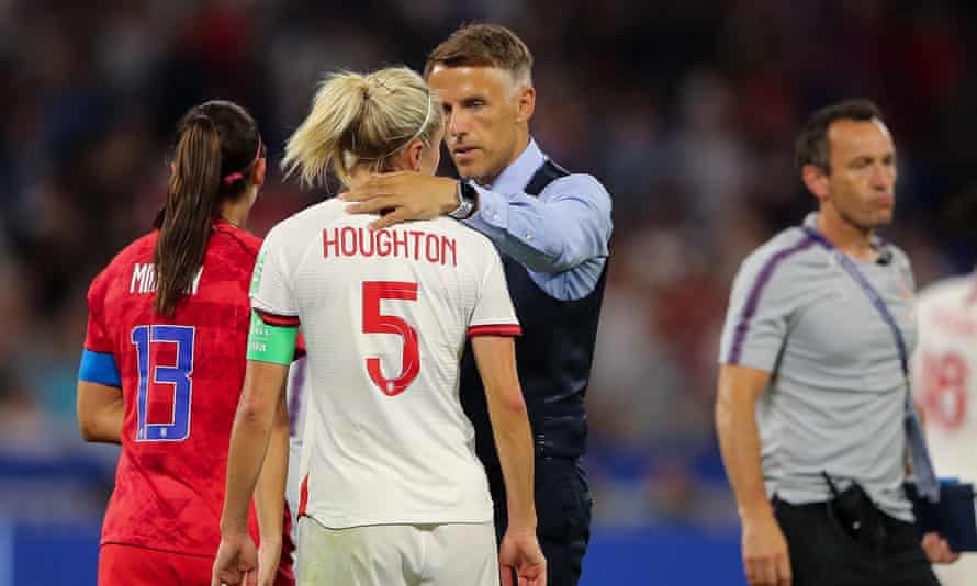 Phil Neville consoles Steph Houghton after England's semi-final defeat against the United States.