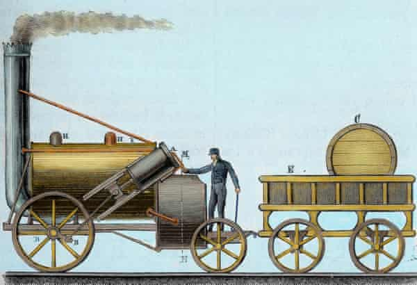 George Stephenson's The Rocket, Locomotive designed by British engineer and inventor George Stephenson (1781-1848), It was the first that was traveling with passengers between the cities of Liverpool and Manchester (1830), at an average speed of 30 km/h, Nineteenth-century engraving, Colored. (Photo by Prisma/UIG/Getty Images)