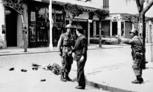 A victim of the French security forces who opened fire on an OAS demonstration in Rue d'Isly, Algiers, 26 March 1962.