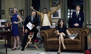 Showtime... (from left): Jane Krakowski, Alec Baldwin, Tracy Morgan, Tina Fey and Jack McBrayer in 30 Rock.