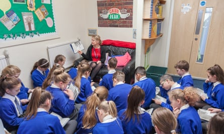 Year six students at St Joseph's Catholic Academy in Stoke-on-Trent. The school has seen a 'dramatic' improvement in reading skills after introducing a daily story time.