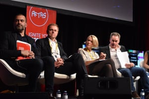 Darren Dale (managing director, Blackfella Films), Peter Tonagh (CEO Foxtel), Helen Kellie (chief content officer, SBS), and Graeme Mason (CEO, Screen Australia) at the Screen Forever conference held in Melbourne in November 2016