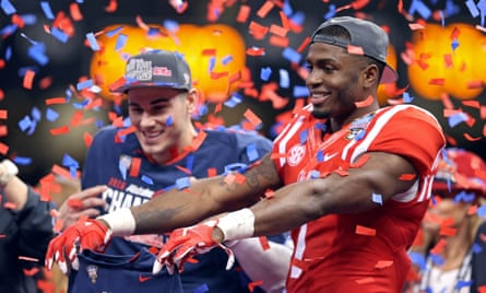 Mississippi Rebels quarterback Chad Kelly and wide receiver Laquon Treadwell (1) celebrate at the end of the 2016 Sugar Bowl. Mississippi defeated the Oklahoma State Cowboys 48-20.