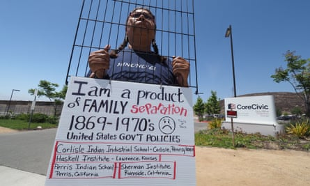 Lydia West, 53, of the Cheyenne and Arapaho native American tribes, protests US immigration policy that separates parents from their children, outside the Otay Mesa detention center in San Diego, California.