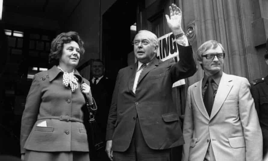Harold Wilson accompanying his wife, Mary, to the Polling station in Great Smith Street, to their vote for the Referendum on the Common Market.