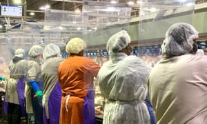 In this April 2020 photo provided by Tyson Foods, workers wear protective masks and stand between plastic dividers to reduce coronavirus risk at the company's Camilla, Georgia, poultry processing plant.