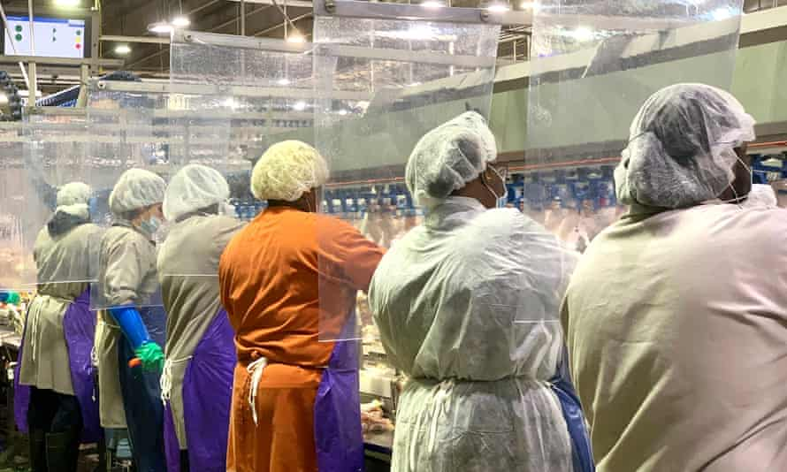 Workers wear protective masks and stand between a plastic dividers at a Tyson Foods poultry plant in Georgia.