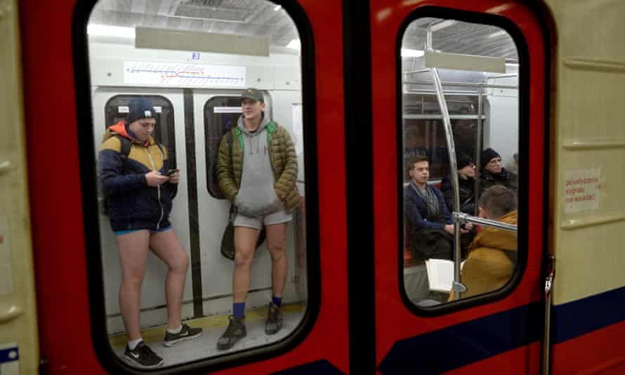 Keeping warm in Warsaw on no pants subway ride day on Sunday.