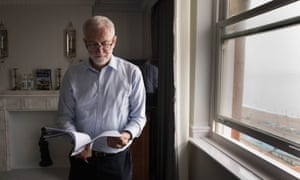 Labour Party leader Jeremy Corbyn prepares his speech that he will deliver to the Labour Party annual conference on Wednesday in Brighton.
