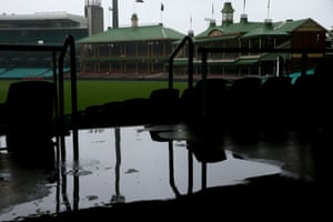 A wet Sydney Cricket Ground on Wednesday where play was supposed to start in a four-day match between a Cricket Australia XI and India.