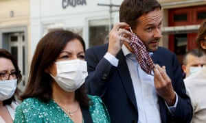Anne Hidalgo is seen with David Belliard of the Europe Ecologie Les Verts party.