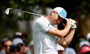 Sergio Garcia disappointed with a poor shot on the 4th