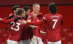 McTominay celebrates scoring United's third goal.