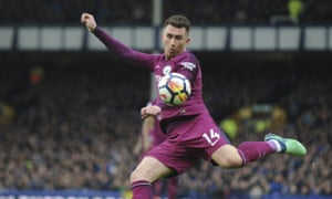 Manchester City's Aymeric Laporte in action against Everton